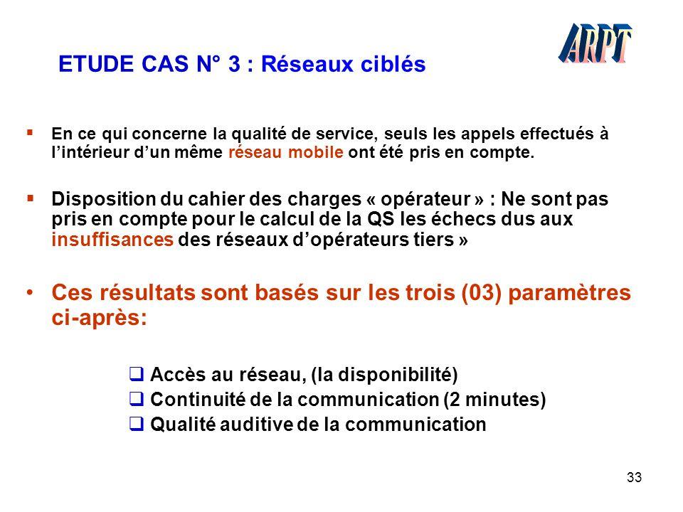 33 ETUDE CAS N° 3 : Réseaux ciblés  En ce qui concerne la qualité de service, seuls les appels effectués à l'intérieur d'un même réseau mobile ont ét