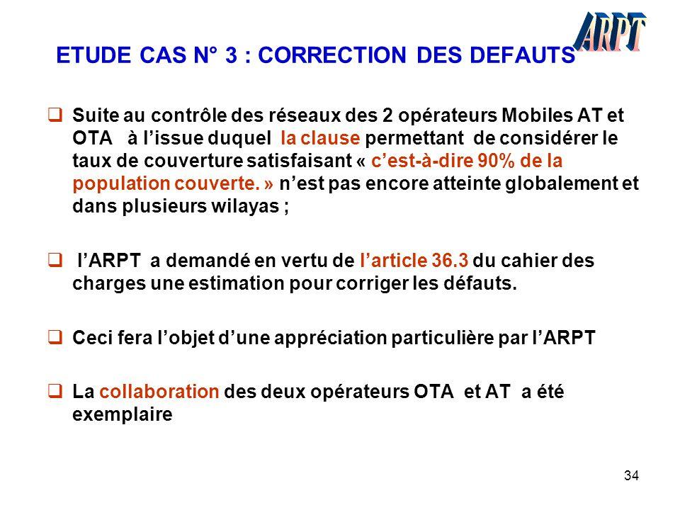 34 ETUDE CAS N° 3 : CORRECTION DES DEFAUTS  Suite au contrôle des réseaux des 2 opérateurs Mobiles AT et OTA à l'issue duquel la clause permettant de