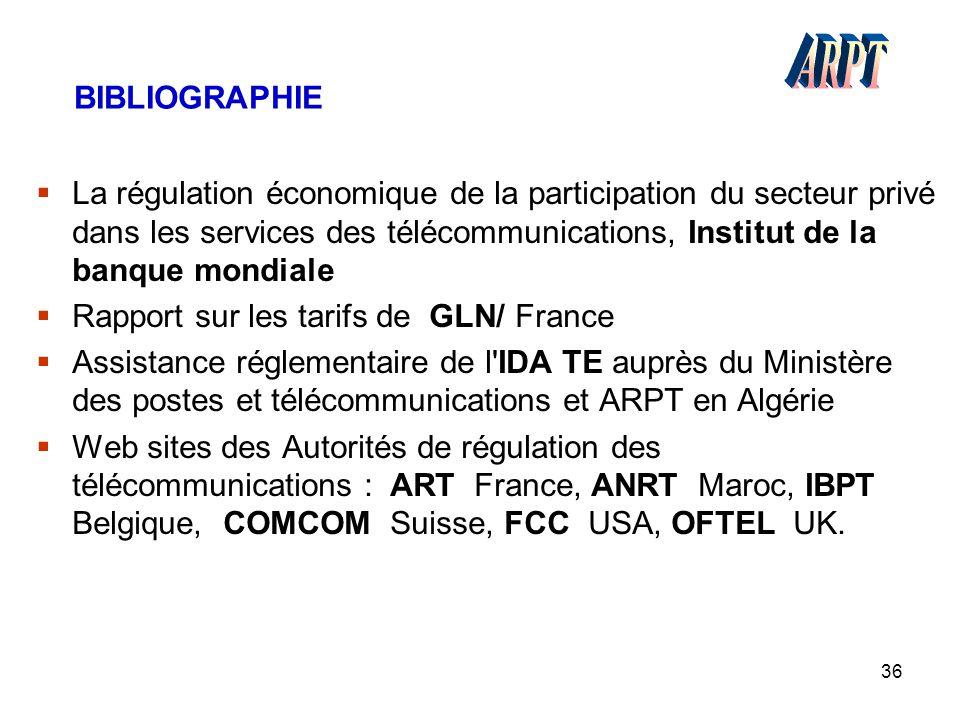 36 BIBLIOGRAPHIE  La régulation économique de la participation du secteur privé dans les services des télécommunications, Institut de la banque mondi