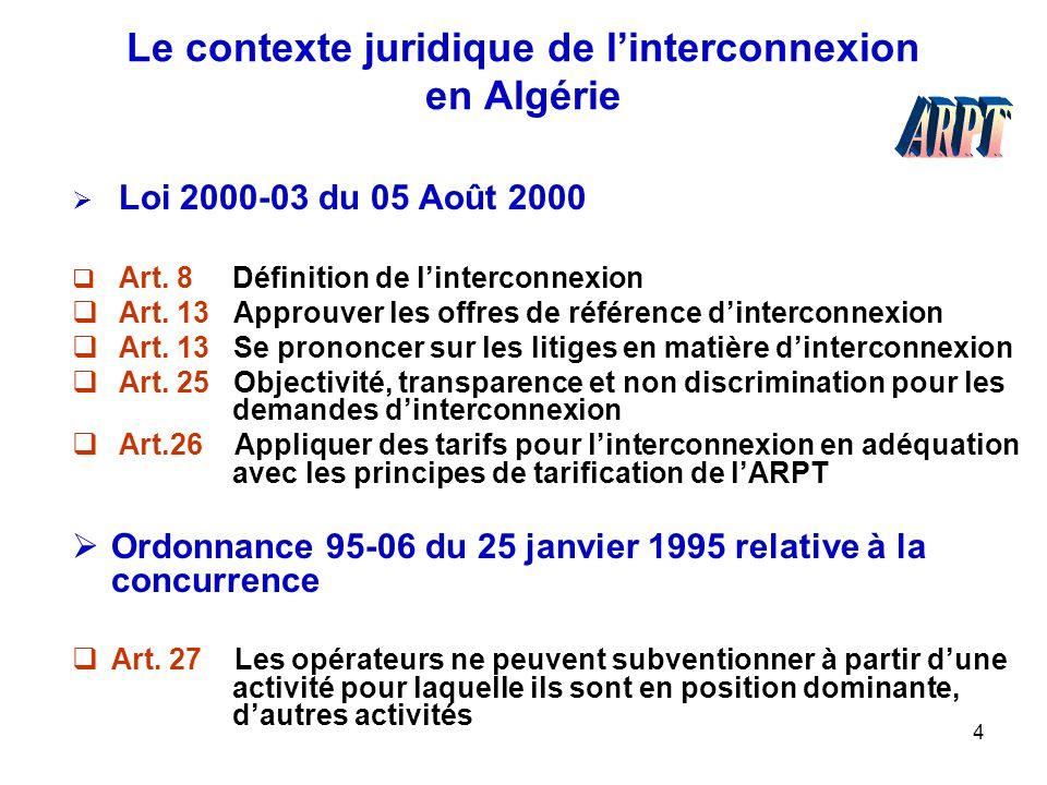 4 Le contexte juridique de l'interconnexion en Algérie  Loi 2000-03 du 05 Août 2000  Art. 8 Définition de l'interconnexion  Art. 13 Approuver les o