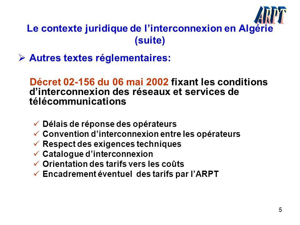 5 Le contexte juridique de l'interconnexion en Algérie (suite)  Autres textes réglementaires: Décret 02-156 du 06 mai 2002 fixant les conditions d'in