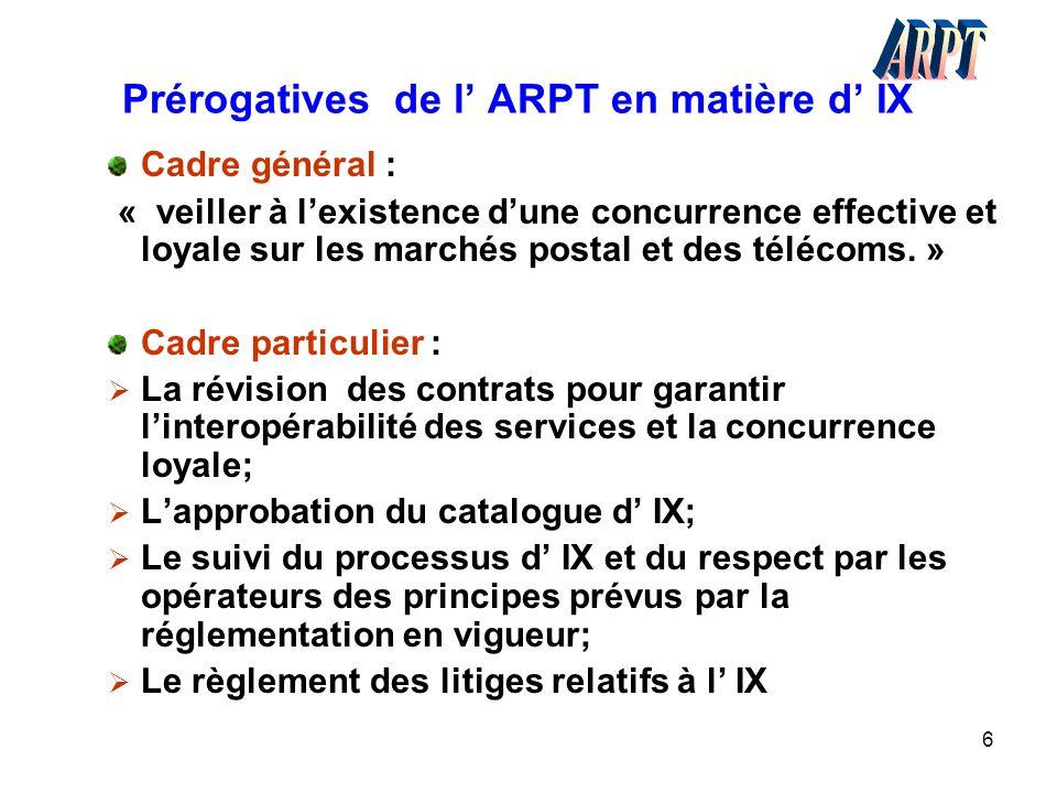 6 Prérogatives de l' ARPT en matière d' IX Cadre général : « veiller à l'existence d'une concurrence effective et loyale sur les marchés postal et des