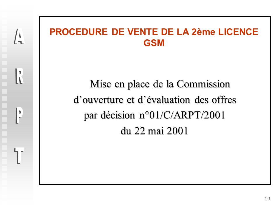 19 PROCEDURE DE VENTE DE LA 2ème LICENCE GSM Mise en place de la Commission Mise en place de la Commission d'ouverture et d'évaluation des offres par décision n°01/C/ARPT/2001 du 22 mai 2001