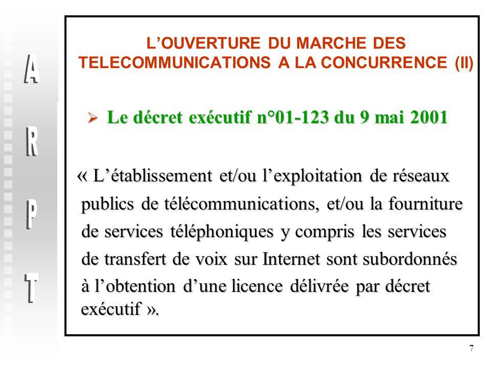 7 L'OUVERTURE DU MARCHE DES TELECOMMUNICATIONS A LA CONCURRENCE (II)  Le décret exécutif n°01-123 du 9 mai 2001 « L'établissement et/ou l'exploitation de réseaux « L'établissement et/ou l'exploitation de réseaux publics de télécommunications, et/ou la fourniture publics de télécommunications, et/ou la fourniture de services téléphoniques y compris les services de services téléphoniques y compris les services de transfert de voix sur Internet sont subordonnés de transfert de voix sur Internet sont subordonnés à l'obtention d'une licence délivrée par décret exécutif ».