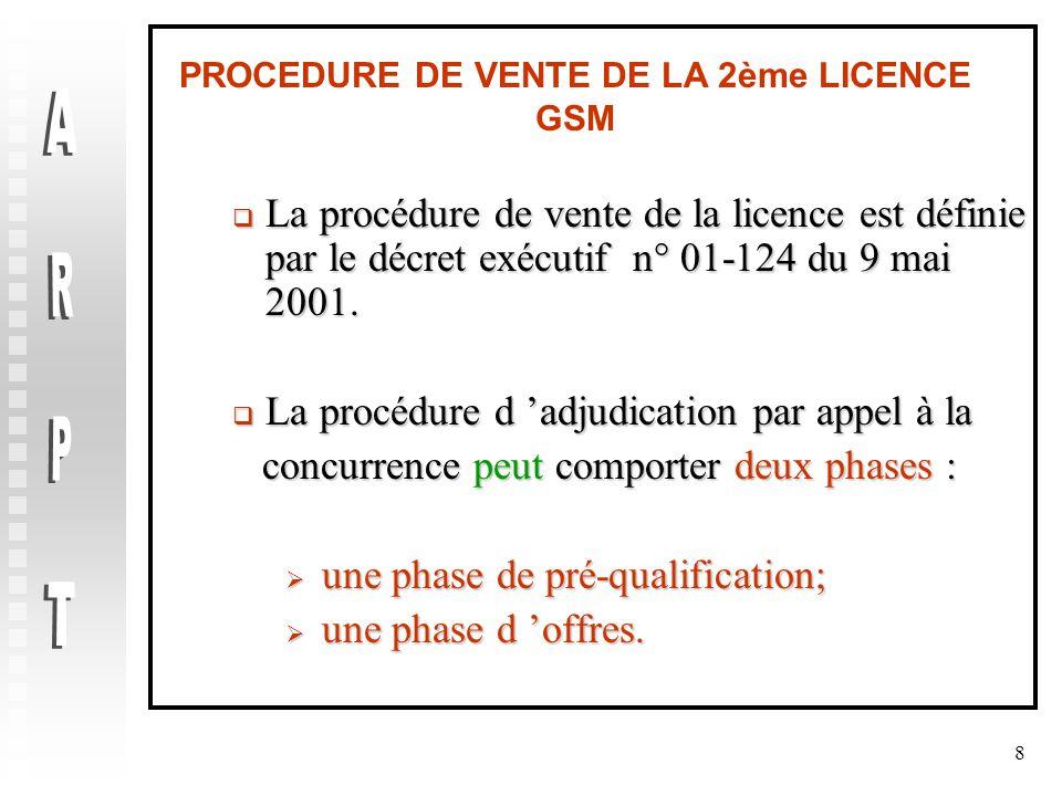 8 PROCEDURE DE VENTE DE LA 2ème LICENCE GSM  La procédure de vente de la licence est définie par le décret exécutif n° 01-124 du 9 mai 2001.