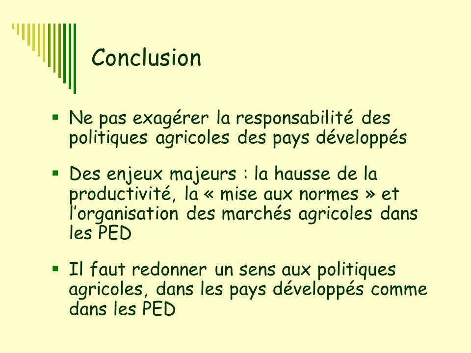 6 Conclusion  Ne pas exagérer la responsabilité des politiques agricoles des pays développés  Des enjeux majeurs : la hausse de la productivité, la