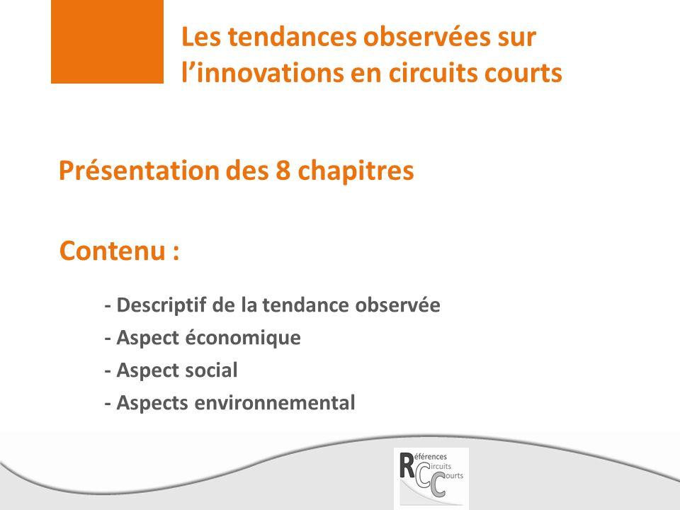Les tendances observées sur l'innovations en circuits courts - Descriptif de la tendance observée - Aspect économique - Aspect social - Aspects enviro