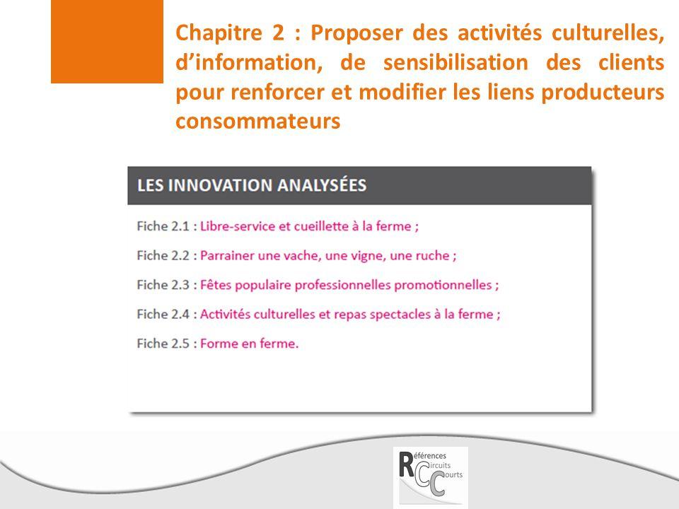 Chapitre 2 : Proposer des activités culturelles, d'information, de sensibilisation des clients pour renforcer et modifier les liens producteurs consom