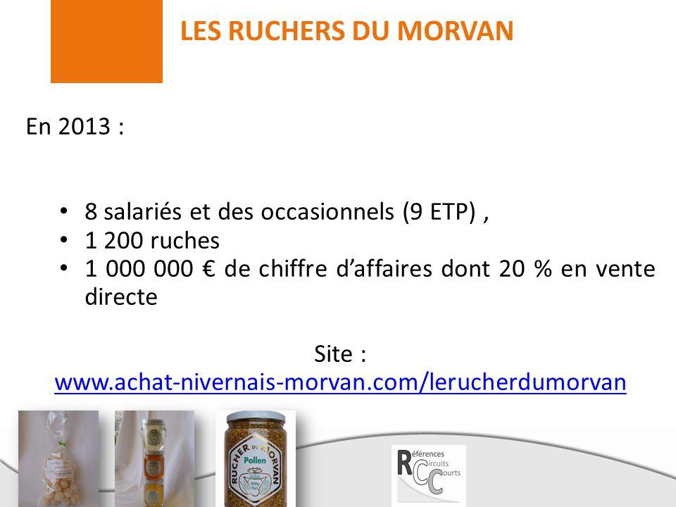 LES RUCHERS DU MORVAN En 2013 : 8 salariés et des occasionnels (9 ETP), 1 200 ruches 1 000 000 € de chiffre d'affaires dont 20 % en vente directe Site