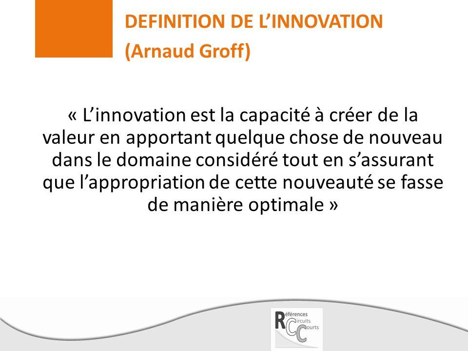DEFINITION DE L'INNOVATION (Arnaud Groff) « L'innovation est la capacité à créer de la valeur en apportant quelque chose de nouveau dans le domaine co