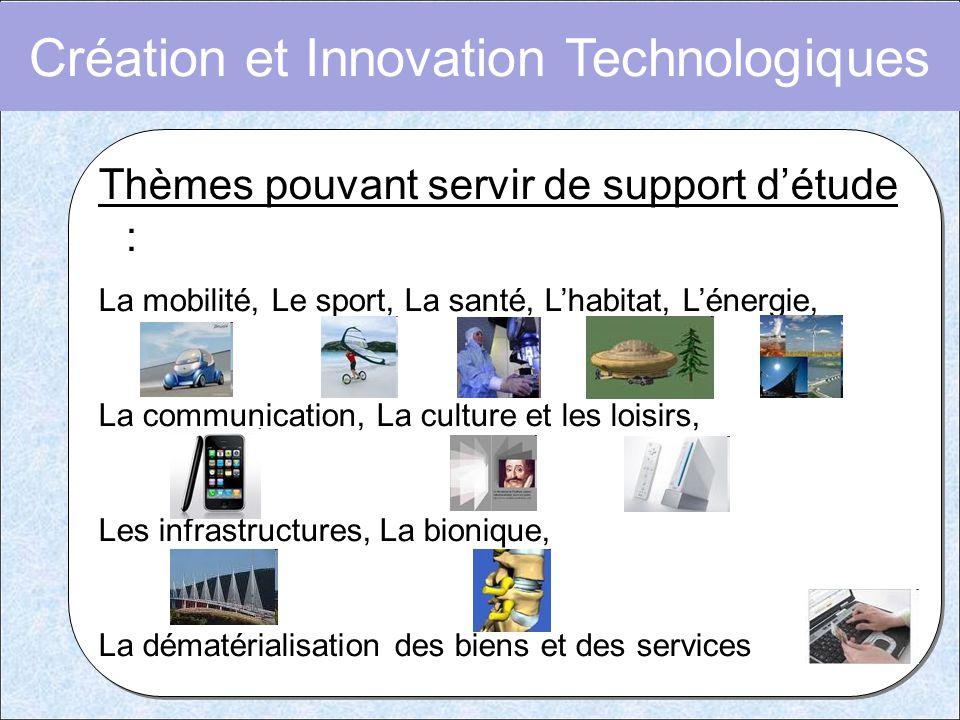Création et Innovation Technologiques Thèmes pouvant servir de support d'étude : La mobilité, Le sport, La santé, L'habitat, L'énergie, La communicati