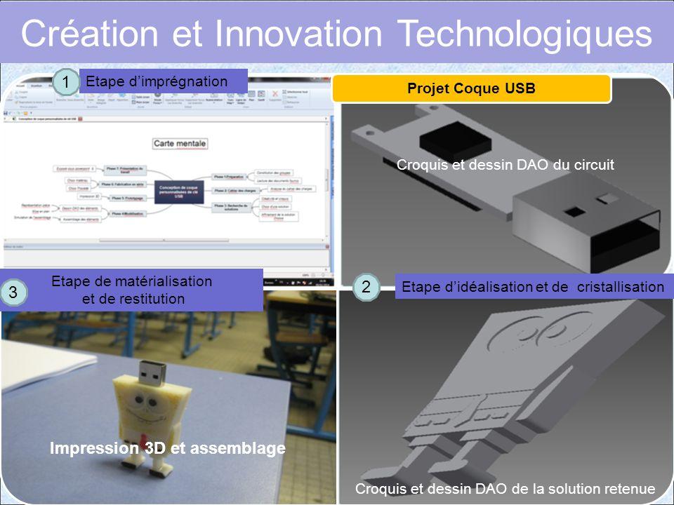 Croquis et dessin DAO du circuit Impression 3D et assemblage Croquis et dessin DAO de la solution retenue Projet Coque USB Etape d'imprégnation Etape