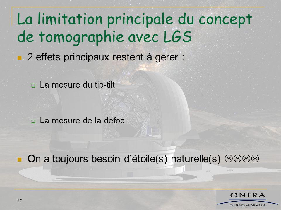 17 La limitation principale du concept de tomographie avec LGS 2 effets principaux restent à gerer :  La mesure du tip-tilt  La mesure de la defoc O