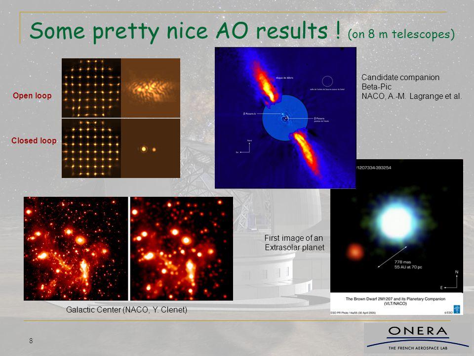 19 Les perturbations à corriger optimize control law maximize SNR concentrate photons optimize WFS concept Tilt : 300 mas rms (windshake) Tilt : 17mas rms (Turbulence, L0=25m) Defoc: 850 nm rms (Turbulence, L0=25m) 2 mas rms de tilt résiduel !!.