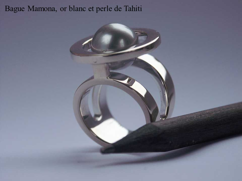 Bague Mamona, or blanc et perle de Tahiti