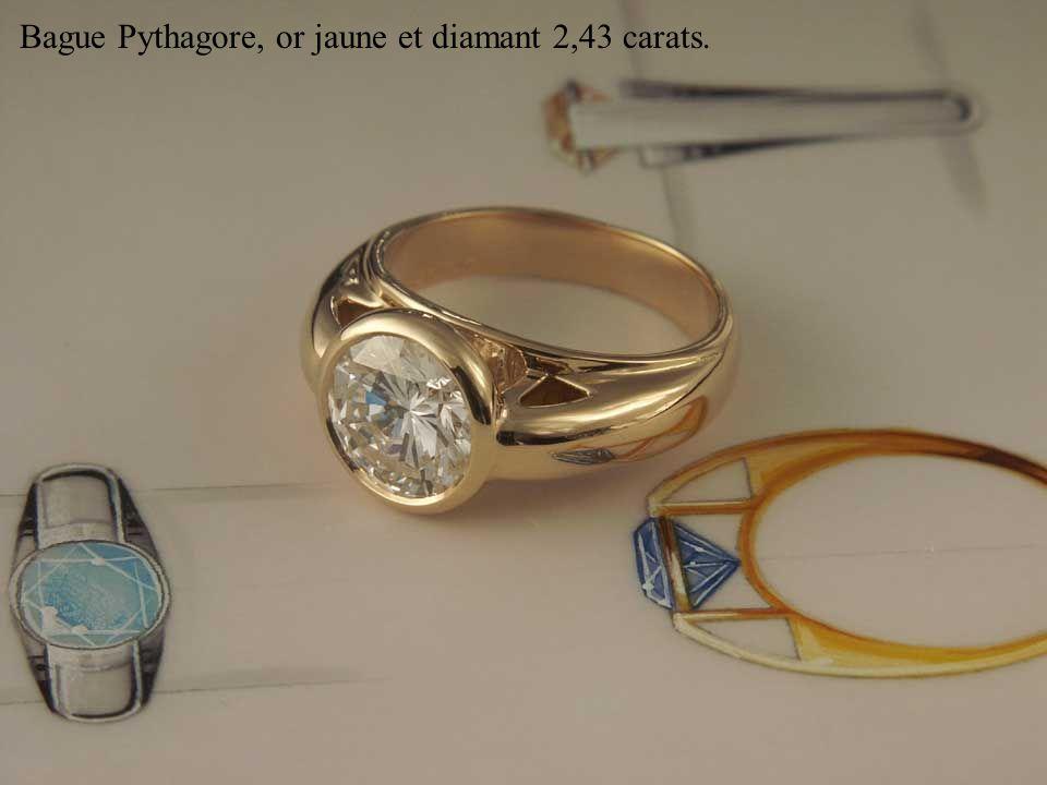 Bague Pythagore, or jaune et diamant 2,43 carats.