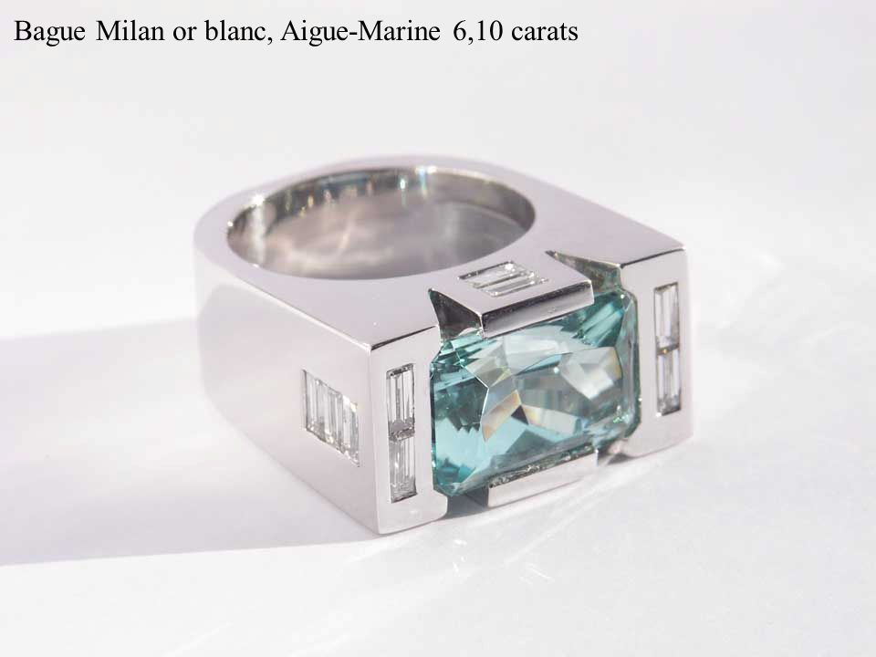 Bague Milan or blanc, Aigue-Marine 6,10 carats