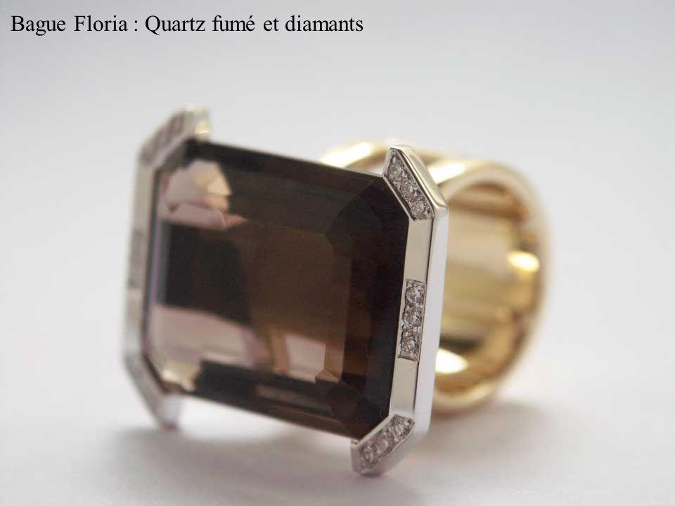 Bague Floria : Quartz fumé et diamants