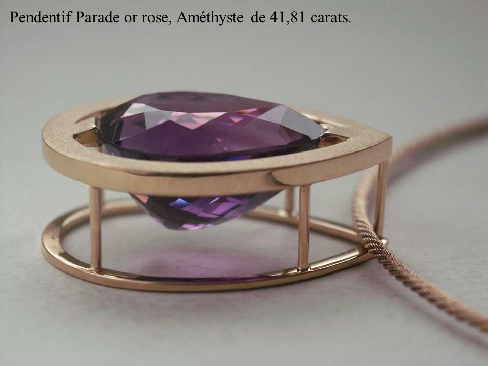 Pendentif Parade or rose, Améthyste de 41,81 carats.