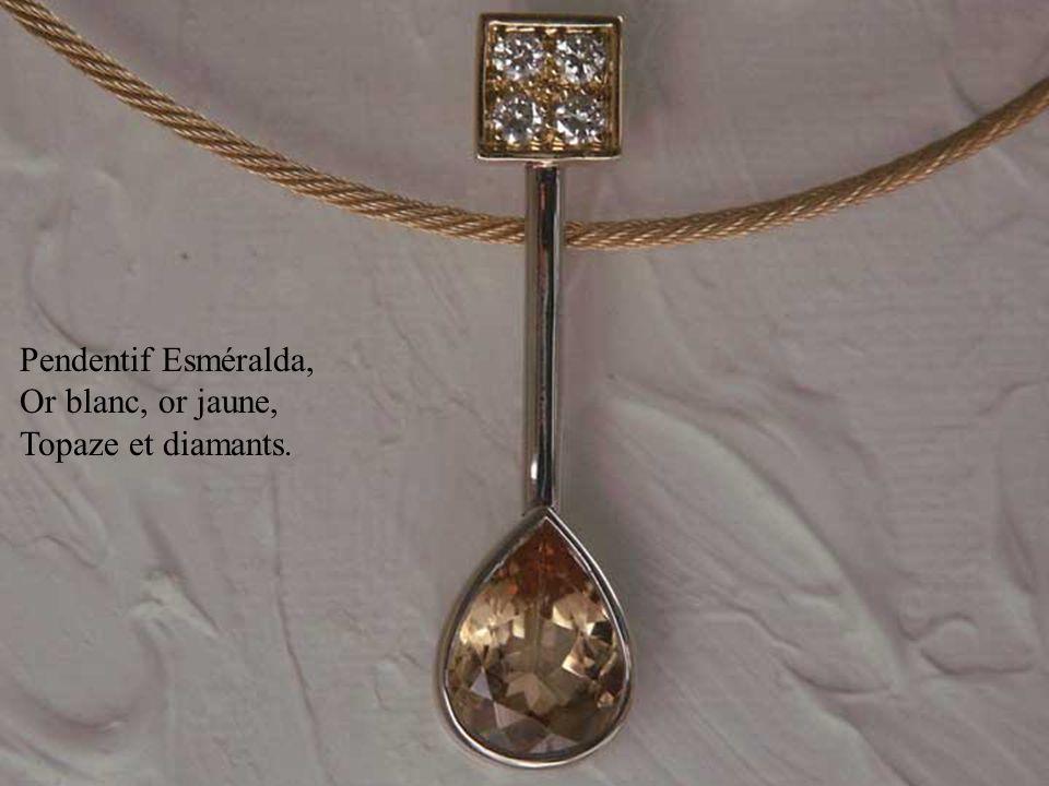 Pendentif Esméralda, Or blanc, or jaune, Topaze et diamants.