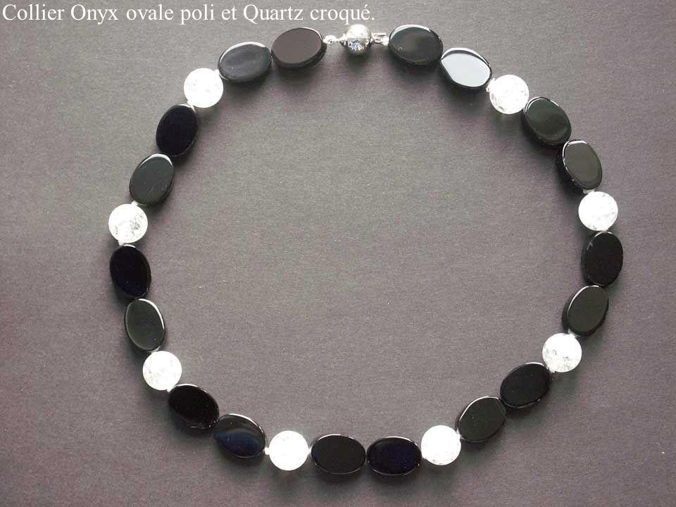 Collier Onyx ovale poli et Quartz croqué.