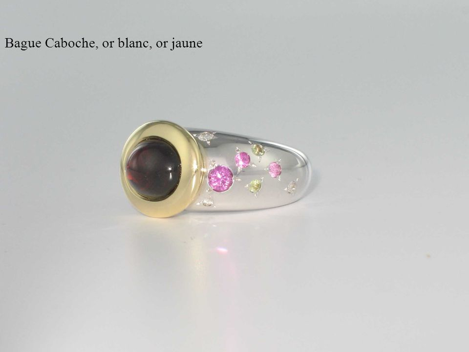 Bague Caboche, or blanc, or jaune