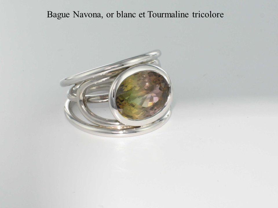 Bague Navona, or blanc et Tourmaline tricolore