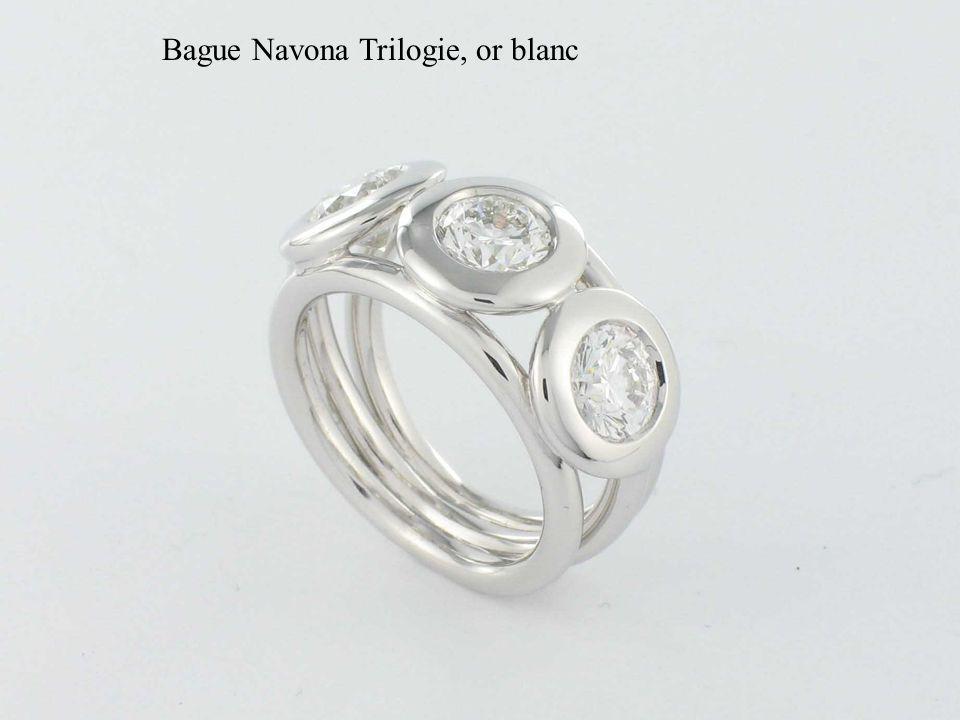 Bague Navona Trilogie, or blanc
