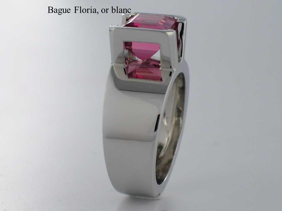 Bague Floria, or blanc