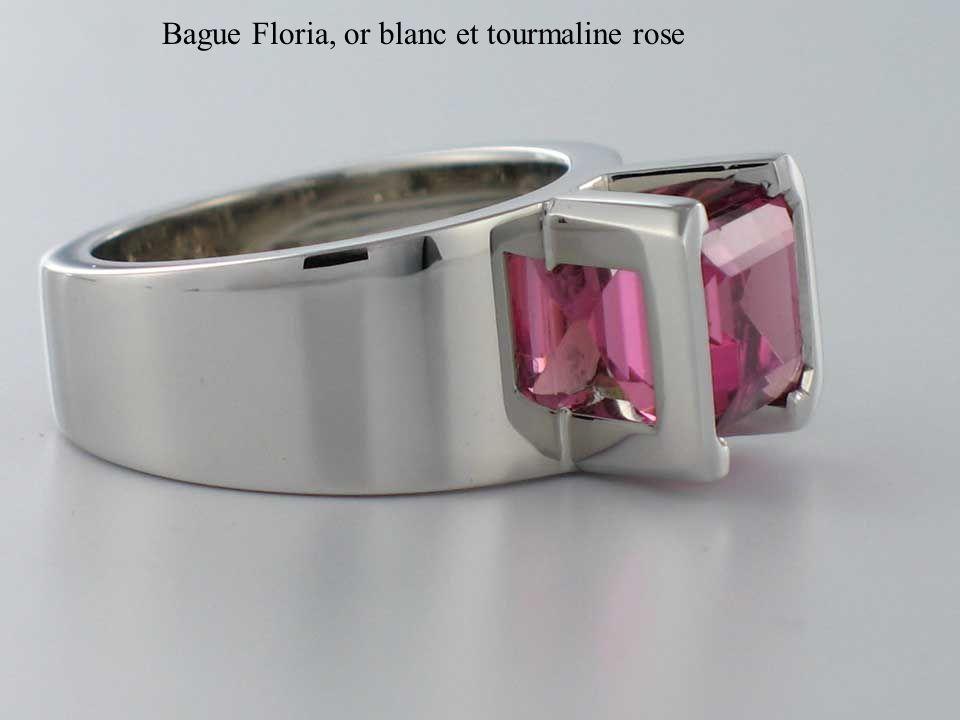 Bague Floria, or blanc et tourmaline rose