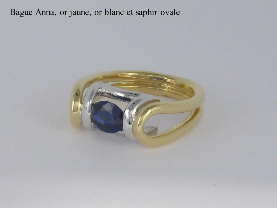 Bague Anna, or jaune, or blanc et saphir ovale