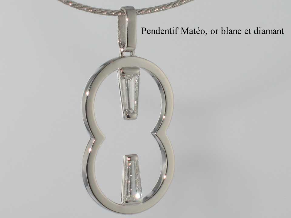 Pendentif Matéo, or blanc et diamant