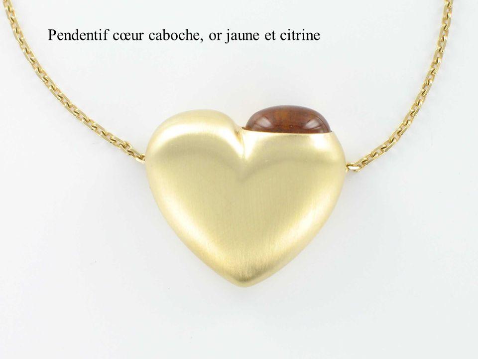 Pendentif cœur caboche, or jaune et citrine