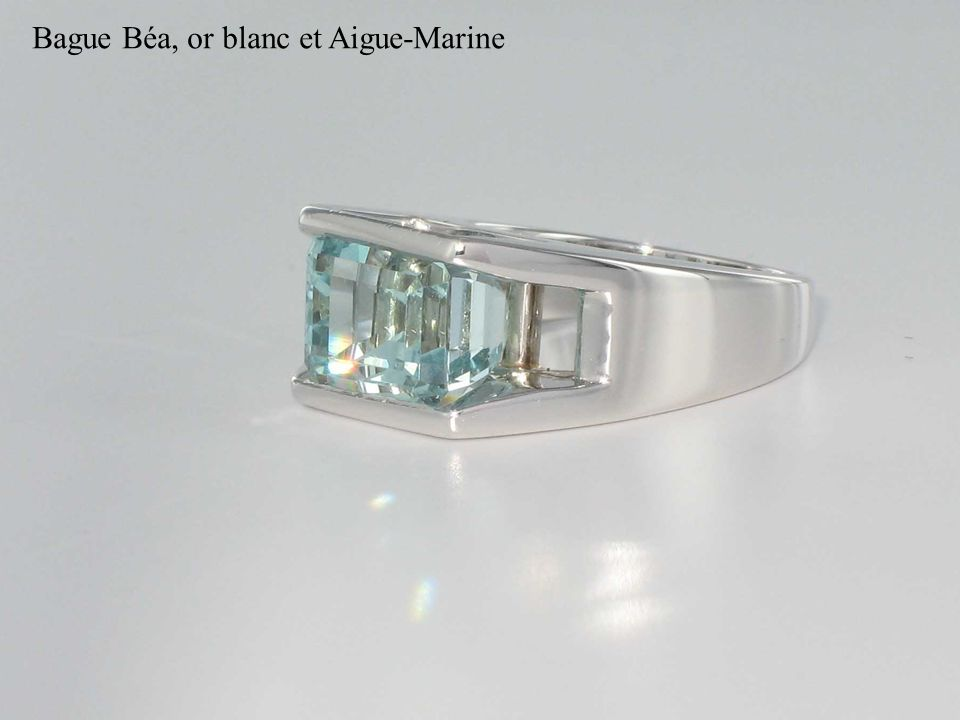 Bague Béa, or blanc et Aigue-Marine