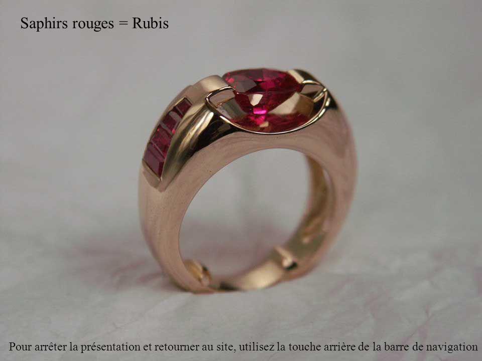 Saphirs rouges = Rubis Pour arrêter la présentation et retourner au site, utilisez la touche arrière de la barre de navigation
