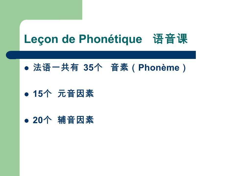 Leçon de Phonétique 语音课 法语一共有 35 个 音素( Phonème ) 15 个 元音因素 20 个 辅音因素