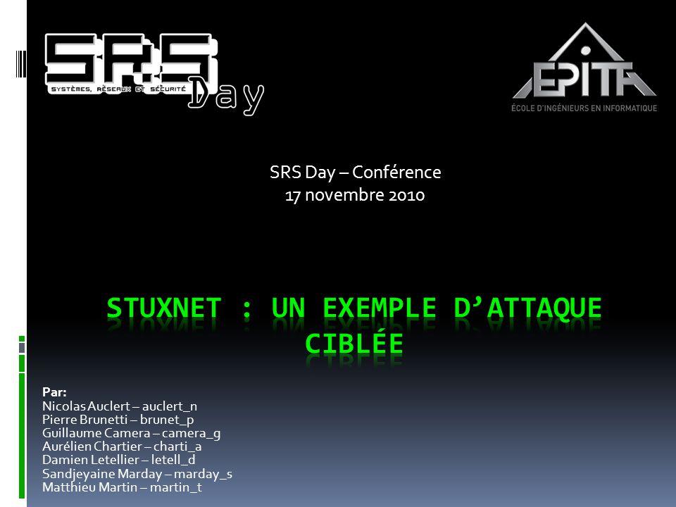 SRS Day – Conférence 17 novembre 2010 Par: Nicolas Auclert – auclert_n Pierre Brunetti – brunet_p Guillaume Camera – camera_g Aurélien Chartier – char