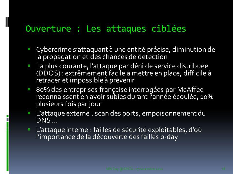 Ouverture : Les attaques ciblées  Cybercrime s'attaquant à une entité précise, diminution de la propagation et des chances de détection  La plus cou