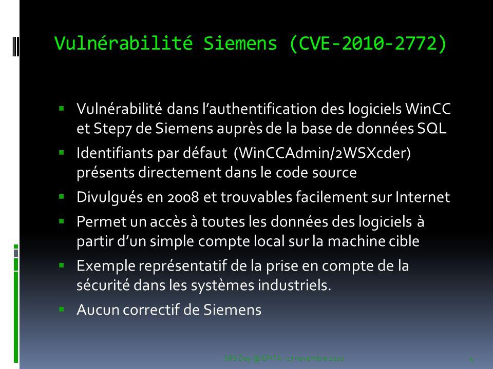 Vulnérabilité Siemens (CVE-2010-2772)  Vulnérabilité dans l'authentification des logiciels WinCC et Step7 de Siemens auprès de la base de données SQL