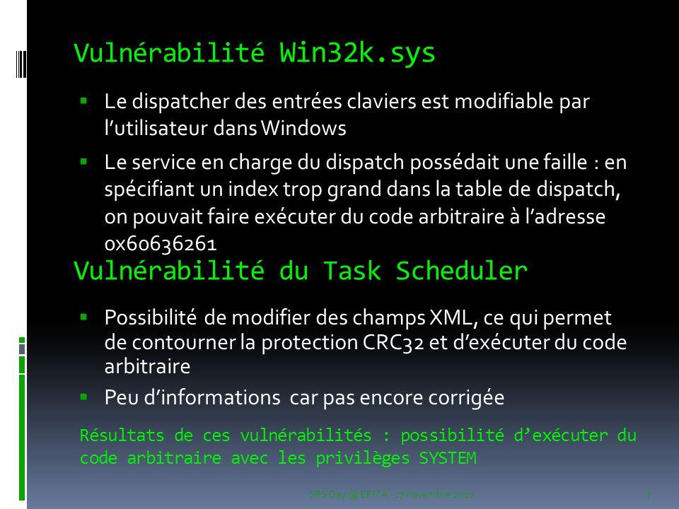 Vulnérabilité Win32k.sys  Le dispatcher des entrées claviers est modifiable par l'utilisateur dans Windows  Le service en charge du dispatch posséda