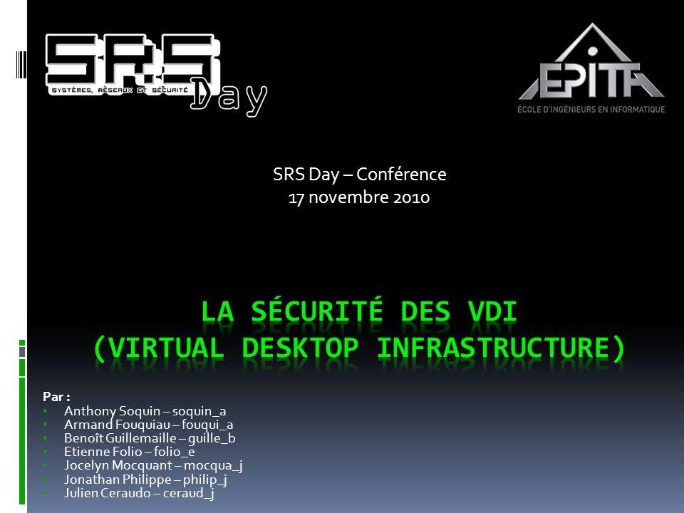 SOMMAIRE  Virtualisation et VDI  Impacts stratégiques et opérationnels  Risques techniques et recommandations  Conclusion 2 SRS Day @ EPITA - 17 novembre 2010