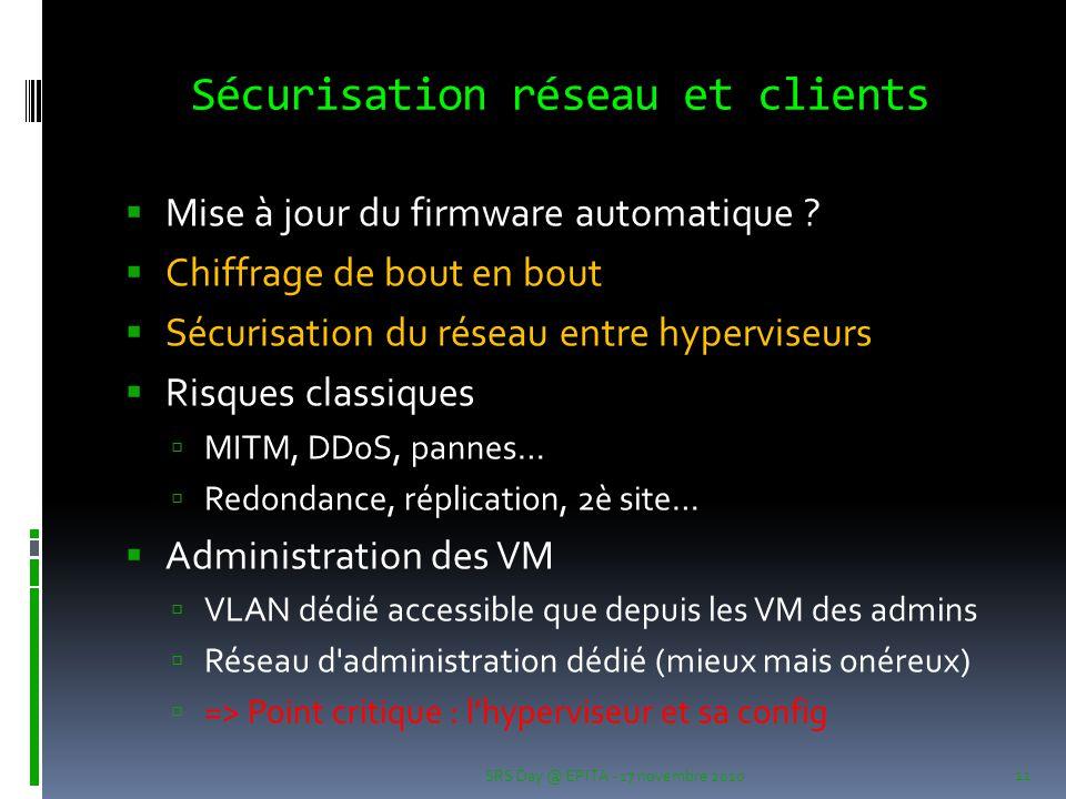 Sécurisation réseau et clients  Mise à jour du firmware automatique .