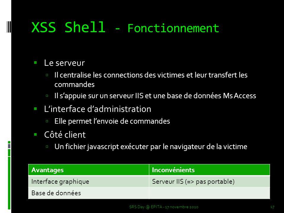 XSS Shell - Fonctionnement  Le serveur  Il centralise les connections des victimes et leur transfert les commandes  Il s'appuie sur un serveur IIS et une base de données Ms Access  L'interface d'administration  Elle permet l'envoie de commandes  Côté client  Un fichier javascript exécuter par le navigateur de la victime SRS Day @ EPITA - 17 novembre 2010 17 AvantagesInconvénients Interface graphiqueServeur IIS (=> pas portable) Base de données