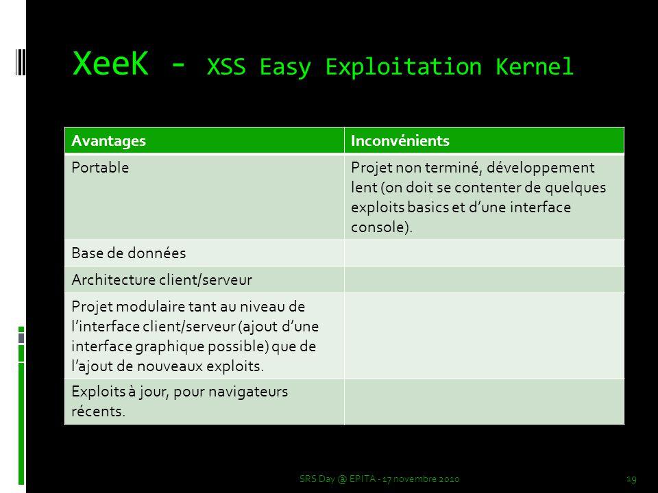 XeeK - XSS Easy Exploitation Kernel SRS Day @ EPITA - 17 novembre 2010 19 AvantagesInconvénients PortableProjet non terminé, développement lent (on doit se contenter de quelques exploits basics et d'une interface console).
