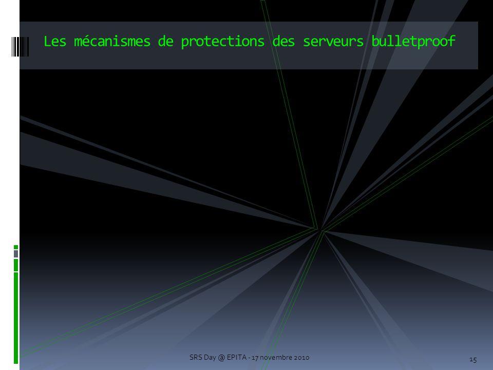 15 Les mécanismes de protections des serveurs bulletproof SRS Day @ EPITA - 17 novembre 2010
