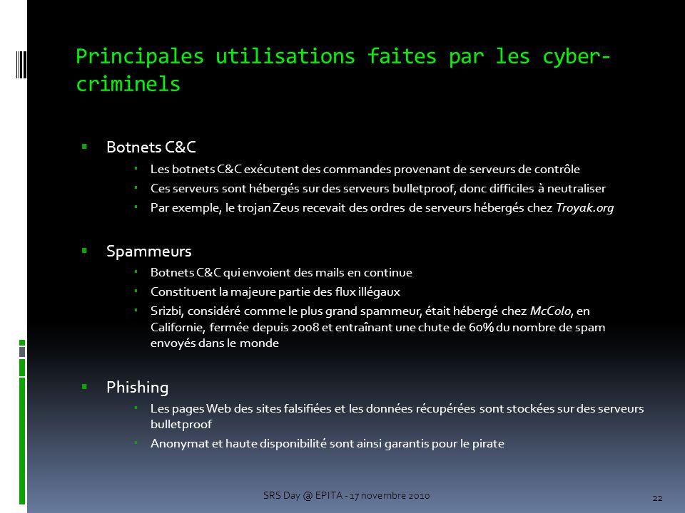 Principales utilisations faites par les cyber- criminels  Botnets C&C  Les botnets C&C exécutent des commandes provenant de serveurs de contrôle  Ces serveurs sont hébergés sur des serveurs bulletproof, donc difficiles à neutraliser  Par exemple, le trojan Zeus recevait des ordres de serveurs hébergés chez Troyak.org  Spammeurs  Botnets C&C qui envoient des mails en continue  Constituent la majeure partie des flux illégaux  Srizbi, considéré comme le plus grand spammeur, était hébergé chez McColo, en Californie, fermée depuis 2008 et entraînant une chute de 60% du nombre de spam envoyés dans le monde  Phishing  Les pages Web des sites falsifiées et les données récupérées sont stockées sur des serveurs bulletproof  Anonymat et haute disponibilité sont ainsi garantis pour le pirate 22 SRS Day @ EPITA - 17 novembre 2010