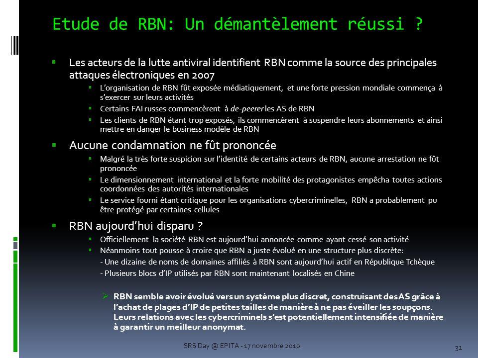 Etude de RBN: Un démantèlement réussi .