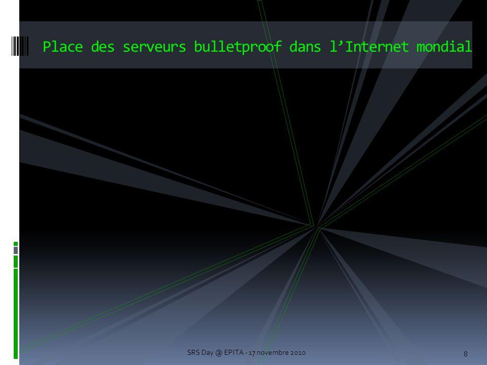8 Place des serveurs bulletproof dans l'Internet mondial SRS Day @ EPITA - 17 novembre 2010