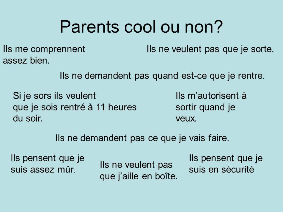 Parents cool ou non. Ils me comprennent assez bien.