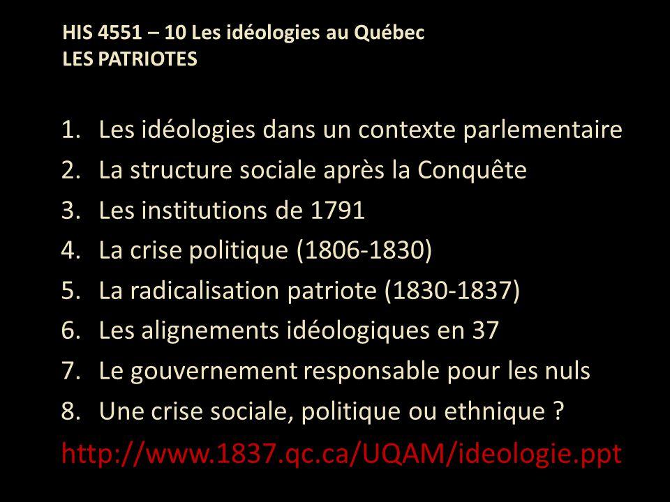 HIS 4551 – 10 Les idéologies au Québec LES PATRIOTES 1.Les idéologies dans un contexte parlementaire 2.La structure sociale après la Conquête 3.Les in